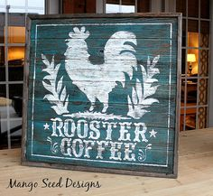 Pallet wood rooster coffee signage from Three Mango Seeds Rooster Kitchen Decor, Rooster Decor, Rooster Art, Pallet Art, Pallet Signs, Rustic Signs, Wooden Signs, Chicken Signs, Decoupage