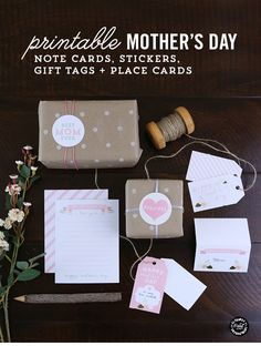 Mother's Day Printables - Note Cards, Stickers, Gift Cards and Place Cards // Free downloads from Elegance and Enchantment