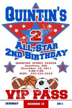 All Star Sports Birthday Party Invitation by NvitationsByRachelle, $7.00