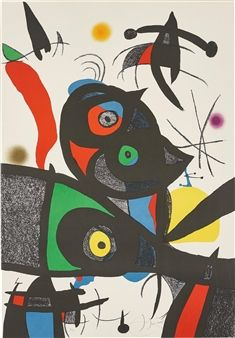Joan Miró, Oda à Joan Miró (Ode to Joan Miró): plate III, 1973, Lithograph in colours, on Guarro paper, 87.8 x 60.8 cm (34 5/8 x 23 7/8 in.), Signed, 19/75 (there was also an edition of 25 in Roman numerals and 10 hors ommerce)