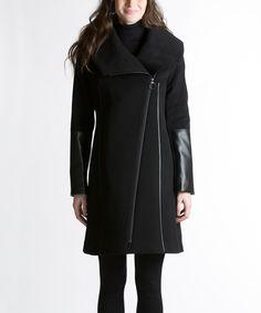 this coat is all sorts of amazing. // Nikki Jones Black Wool-Blend Asymmetrical Coat