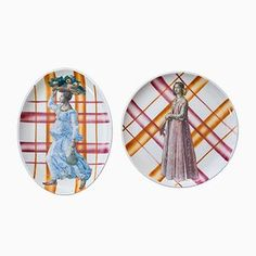 Due Grazie Ceramic Platters from PiattoUnico, Set of 2 for Shop with global insured delivery at Pamono. Ceramic Plates, Decorative Plates, Tartan Pattern, Paint Finishes, Design Show, White Ceramics, Contemporary Design, Objects
