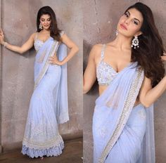 This Sky-Blue color designer saree made from Soft silk fabric. And this fabric i. - This Sky-Blue color designer saree made from Soft silk fabric. And this fabric is Soft Materials. Lehenga Designs, Saree Blouse Designs, Sari Blouse, Linen Blouse, Indian Wedding Outfits, Indian Outfits, Bridal Outfits, Indian Designer Outfits, Designer Dresses