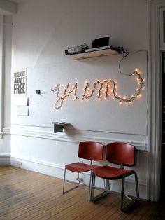 Spelling words with string lights - The Design Office's Vintage Modern Workspace — Tech Tour