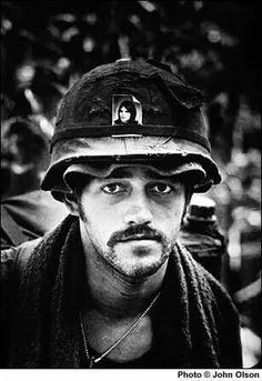 """""""Vietnam War - steel pot, with a boonie hat on underneath it, and more importantly a picture of his wife or girlfriend. #VietnamMemories"""""""