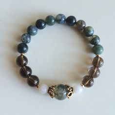 Balance, Grounding & Inner Growth ~ Genuine Moss Agate, Smokey Quartz and Moonstone Bracelet w/ Vermeil Accents ~ Positive Energy