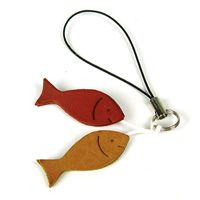 PESCI - Italian Leather Fish Cell Phone Charm with Dust Plug Attachment