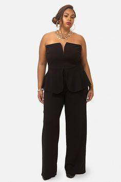 Plus Size Liam Strapless Peplum Jumpsuit   Fashion To Figure