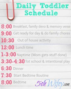 Daily Toddler Schedule and Routine with Tot School and Intentional Play via 5ohwifey.com