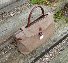 Satchel Briefcase Holdall Man Bag Wool Tweed Bag with Real Leather Handles £150.00