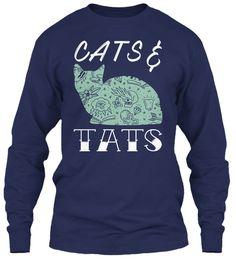 Cats And Tats Navy Long Sleeve T-Shirt Front
