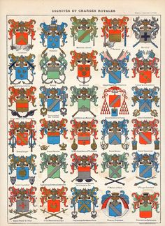 1898-1904 Antique Brilliantly Coloured French Chromolithograph of Heraldry. No. 1. From Nouveau Larousse Illustre $25
