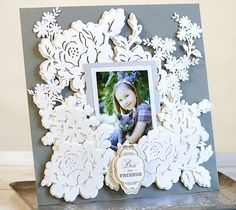 Flourish border scrapbook page layout by Anna Griffin. Make It Now with the Cricut Explore machine in Cricut Design Space.