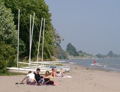 Sailboats and sandcastles on the Port Hope East Beach