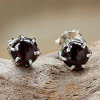 Garnet stud earrings, 'To the Point'
