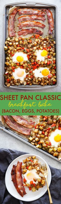 This Sheet Pan Classic Breakfast is made up of Eggs Bacon & Home Fries and comes together in a pinch and made using only ONE PAN. It's a great one pan breakfast bake that is perfect for a weekend brunch or breakfast to feed a crowd with little to no mess! Breakfast And Brunch, Breakfast Bake, Healthy Breakfast Recipes, Best Breakfast, Brunch Recipes, Healthy Recipes, Breakfast Potatoes, Budget Recipes, Easy Recipes