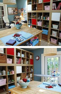 stacked Expedit (Ikea). Add a base to make them look taller and close the gap to ceiling with moulding