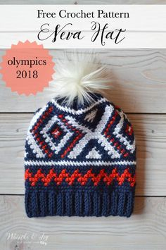 Crochet Neva Hat (Crochet Olympics Team Hat) : This pretty hat is my version of the the Team USA Olympic Hats! The color work is easier than you think and the finished hat is cozy and comfortable. Includes a video tutorial.