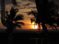 The crisp glowing sun sets