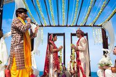 Drape mandap with garlands on top instead of a covering. Via Maharani Weddings