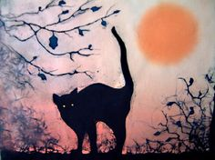 Painting of black cat. Shirley Enright