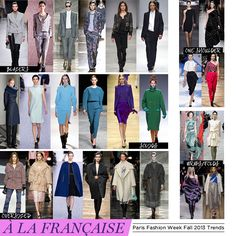 Paris Fashion Week for 2013 trends highlighted the menswear inspired blazers as suits for women. Also the overcoats are a key feature for fall. The have shown a variety of the fall colours with muted tones of the spring/summer colours as dictated from Pantone's forecast. Rich jewel tones of Emerald green and purples and red with deep neutrals.