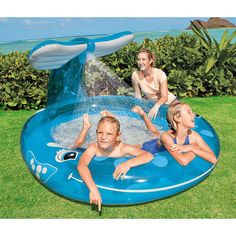 The Intex Inflatable Whale Spray Pool is sure to bring tons of spraying watery fun to your kids this summer. This blue whale's tail has a built-in sprayer; certain to keep everyone cool while playing in the pool. The sprayer spout attaches to your garden hose.<br><br>Measuring 7.3 feet x 5.1 feet x 3.25 feet, our huge blue whale is big enough for everyone to have fun! When inflated, this sea giant has a 55 gallon capacity. Your kids will be super excited when you get them the ...