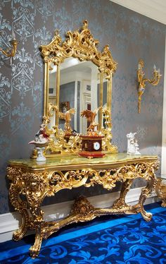 Nightingale baroque luxury gold leaf rococo french for Floor mirror italian baroque rococo style