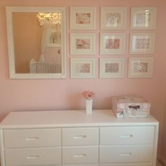 Julia's room color pale pink - I like the mirror and pics arrangement, could be done for any room. Looks Julia's room color pale pink - I like the mirror and pics arrangement, could be done for any room. Looks like a painted dresser too. Girls Room Paint, Girls Bedroom Colors, Kids Bedroom, Nursery Room, Girl Nursery, Nursery Decor, Ideas Habitaciones, Nursery Paintings, Nursery Inspiration