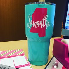New favorite color combo for these tumblers!! (Seafoam Blue tumbler)