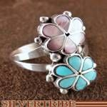 Cute for spring/summer <3  Zuni Native American Jewelry Turquoise and Pink Shell Inlay Flower Ring