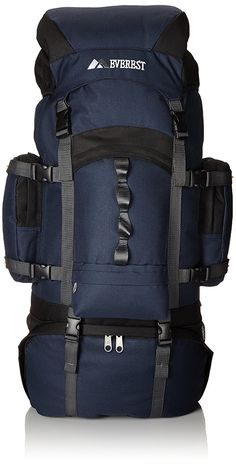 Everest Deluxe Hiking Pack, Navy, One Size. Nine exterior pockets. Internal Frame Backpack, Camping And Hiking, Hiking Backpack, Traveling By Yourself, Packing, Backpacks, Navy, Travel Products, Black