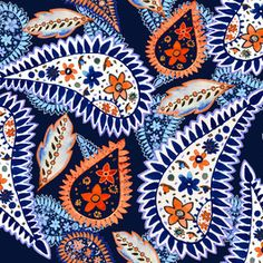 Large Painted Paisley Blue by Sarah Jane Woodward Seamless Repeat Royalty-Free Stock Pattern Textile Design, Print Patterns, Paisley, How To Draw Hands, Repeat, Ethnic, Royalty, Blue, Trends