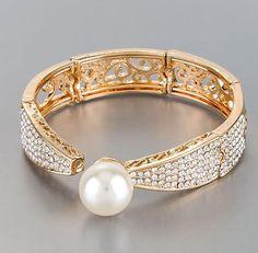 "8"" gold pearl crystal hinged cuff bangle bracelet bridal prom"
