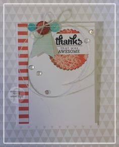 Card by Amber Hight. Reverse Confetti stamp set: Circle Sentiments. Confetti Cuts: Scalloped Circle and Stitched Flag Trio. Thank you card.