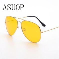 e570b54ff1 ASUOP2018pilot night vision yellow men sunglasses fashion brand ladies  UV400 cat eye glasses driver driving sunglasses at night. Yesterday s  price  US  0.69 ...