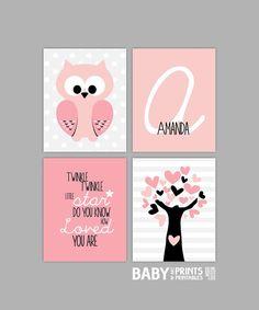 Baby Girl Nursery art, Set of 4 8x10. Owl, Twinkle twinkle little star.. Tree, falmingo pink, pale pink, black on Etsy, $44.00