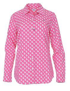 Vineyard Vines Womens Long Sleeve Button Down Shirt Size 6 Tiny Boat Print #VineyardVines #ButtonDownShirt