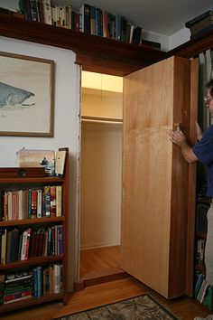 I've always wanted a door hidden in a bookcase. Now I have instructions! (Next, own my walls.)