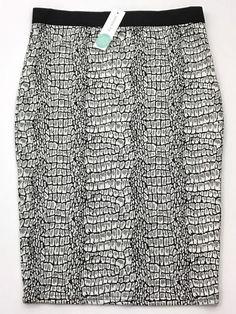 NEW Pixley Stitch Fix Brenna Printed Pencil Skirt Sz Medium Black Gray Scales    eBay