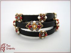Leather and bead bracelet
