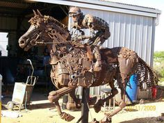 How many hours did this take to build!  Unusual Scrape Metal Horse and Jockey
