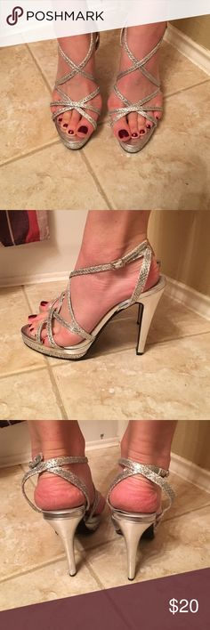 """""""Dyeables"""" Silver Sparkly Heels ✨ Great for a night out! Worn once for a beauty pageant. No visible damage. *Anti-slip pads have been added to the bottom of these heels to prevent falling! Dyeables Shoes Heels"""