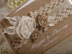 Burlap Wedding GuestBook Rustic Guestbook by 4invitationwedding