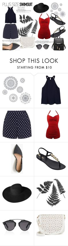 """""""My style"""" by nadina-2001 ❤ liked on Polyvore featuring Wall Pops!, MANGO, Zizzi, J.Crew, IPANEMA, Dorfman Pacific, Christian Dior, Under One Sky, stylishcurves and plussizeswimsuit"""