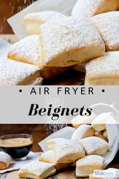These air-fried beignets are delicious on their own, but even more decadent if you make a chocolate sauce or raspberry sauce to dress them up. Beignets, Blue Jean Chef, Beignet Recipe, Air Fryer Oven Recipes, Air Fryer Recipes Dessert, Air Fryer Recipes Breakfast, Airfryer Breakfast Recipes, Air Fryer Recipes Donuts, French Dessert Recipes