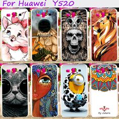Hard Plastic Cool Skull Cute Minions Flower Phone Cases For Huawei Ascend Y520 4.5 inch Phone Cover Phone Shell Accessories #Affiliate
