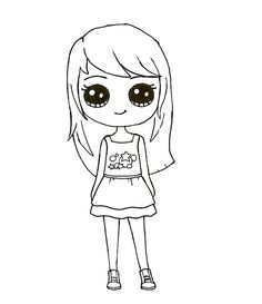 Kawaii Girl Drawings, Cute Cartoon Drawings, Cute Girl Drawing, Girly Drawings, Cartoon Girl Drawing, Art Drawings Sketches Simple, Disney Drawings, Easy Drawings, Arte Do Kawaii