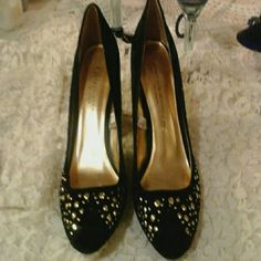 Black velvet kitten heels with gold studs! Way cute heels!! Another pair I found lol..these are in excellent condition! Sigerson Morrison Shoes Heels