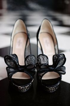 Valentino Lace Couture Bow Peep-Toe Pumps. Photography by Kristin Vining Photography